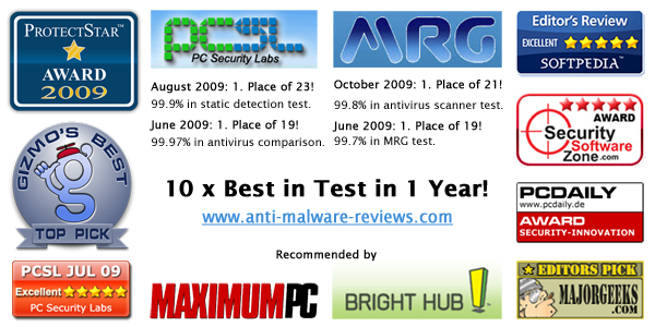 10 x Best in Test in one year! Emsisoft Anti-Malware