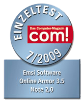 Online Armor Premium tested and reviewed by the German com! Magazine. Rating 2.0 = Good