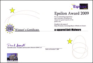Epsilon Award 2009 goes to a-squared Anti-Malware!