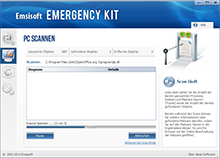 Emsisoft Free Emergency Kit - Scan läuft