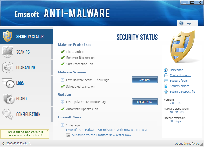 Click to view Emsisoft Anti-Malware 7.0.0.10 screenshot