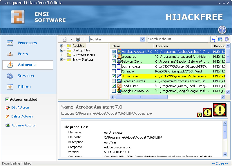 Click to view Emsisoft HiJackFree 4.5 screenshot
