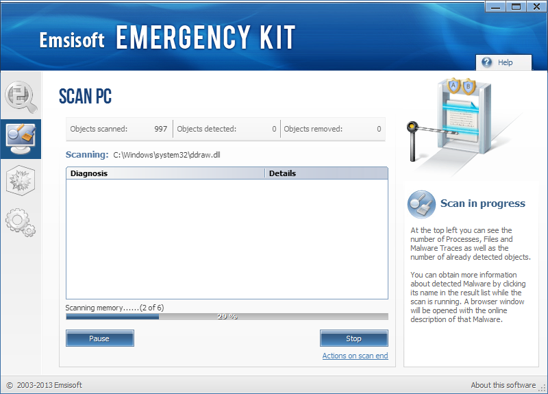 Emsisoft Free Emergency Kit Screenshot