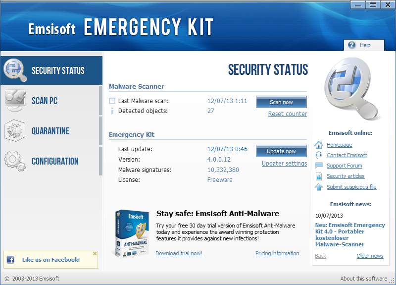 Emsisoft Emergency Kit screenshot