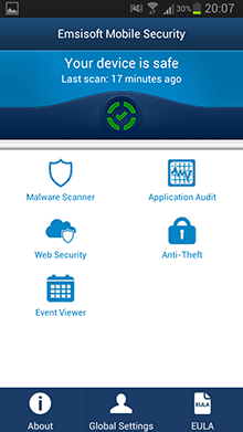 Emsisoft Mobile Security - Main Screen