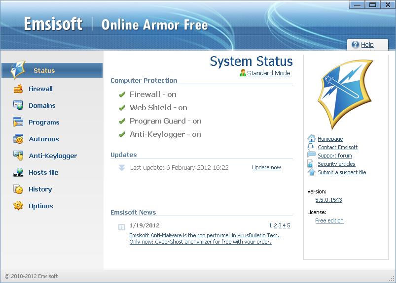 Online Armor Free Firewall screenshot