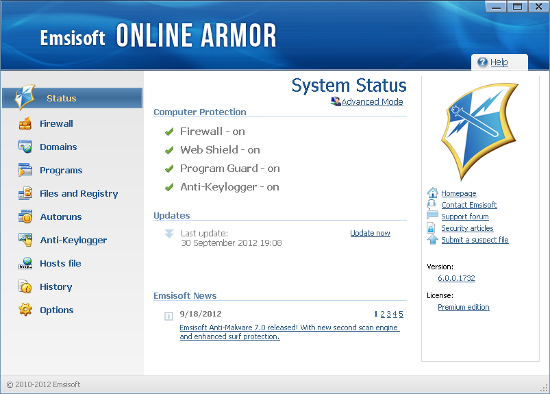 Click to view Online Armor Premium Firewall 5.0.0.1097 screenshot
