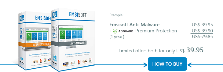 Emsisoft Anti-Malware +  FREE ad-blocker = both for only US$39.95