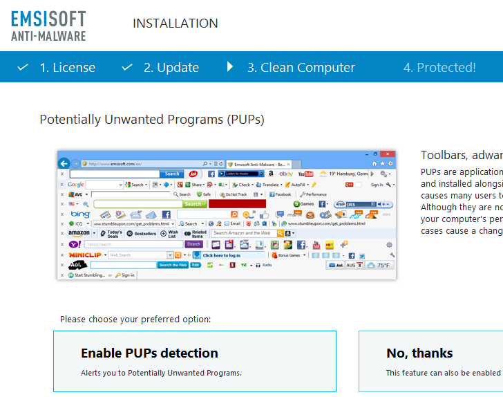 Emsisoft Anti-Malware PUP detection (screenshot)
