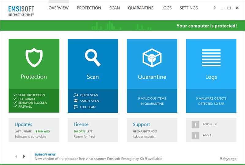 Emsisoft Internet Security Screenshot