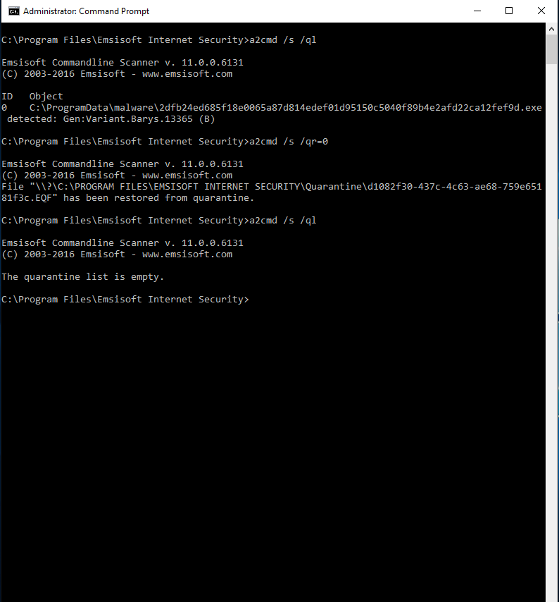 Emsisoft Commandline Scanner screenshot