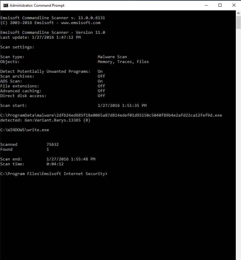 Full Emsisoft Commandline Scanner screenshot